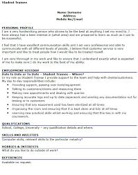 student trainee cv example u2013 cover letters and cv examples