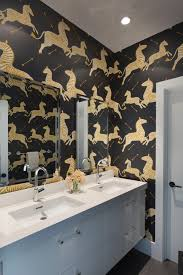 adorable flower wallpaper in bathroom ideas using vinyl wallpaper unique animal print idea for wallpaper in bathroom ideas with frameless mirror and floating white cabinet