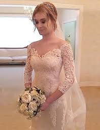 lace 3 4 sleeve wedding dress mermaid the shoulder 3 4 sleeves sweep wedding dress