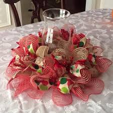 mesh ribbon table decorations christmas deco mesh and ribbon centerpiece by allthatglitters142