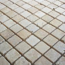 Victorian Mosaic Floor Tiles White Travertine Tumbled Mosaic Tile