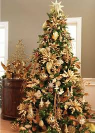 tree decorations gold and brown happy holidays