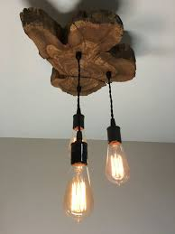 Wood Light Fixture Modern Live Edge Olive Wood Light Fixture With 3 Lights Rustic