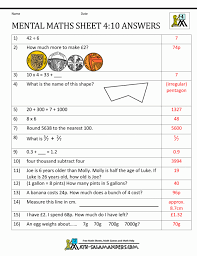 Gallon Worksheet Surprising Mental Maths Test Year 4 Worksheets For 7 Semnext