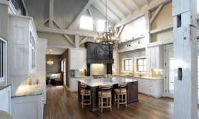 Interior White Cabinet On The Wooden Floor Pole Barn Houses - Barn interior design ideas