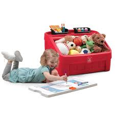 step2 red 2 in 1 toy box and art lid toys