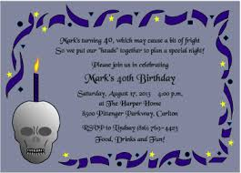 40th birthday invitations skull and candle