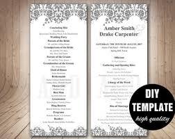 black and white wedding programs diy wedding program templatesilver weddingelegant wedding