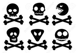 six abstract skulls on crossed bones black color royalty free