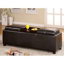 Black Storage Ottoman Ottoman Coffee Table Tufted Leather Small With 2 Storage Ottomans