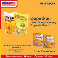 Minyak Goreng Tropical Di Alfamart setiap pembelian bebelac 3 di alfamart dapat 1lt minyak tropical
