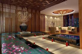 asian bathroom spa with wood decoration design inspiration