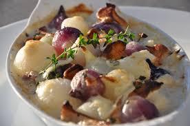 creamed pearl onions chanterelles thyme glaze s pommes d