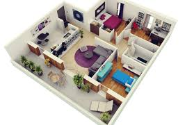 3d interior home design 3 bedroom apartment house plans
