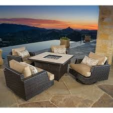 Costco Outdoor Furniture With Fire Pit by Portofino Comfort 5 Piece Fire Chat Set In Espresso