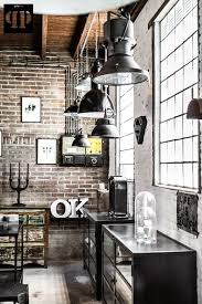 Industrial Interior Design Exposed Bricks And Wires Retro Lighting Fixtures And Metal