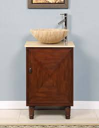 Vessel Sink Vanities For Small Bathrooms Silkroad 20 Inch Travertine Vessel Sink Vanity English Chestnut