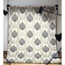 Black And Cream Damask Curtains Formal Black U0026 Silver Damask On Soft White 27