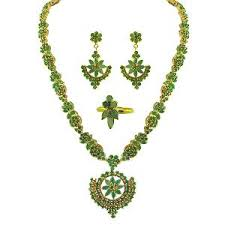 necklace with green stone images Jpearls green stone bridal necklace jpnv 002 necklace sets jpg
