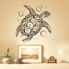 sea turtle with bubbles uber decals home decoration tortoise wall