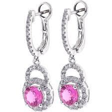 pink drop earrings womens pink sapphire diamond drop earrings 18k white gold 3 21 ct