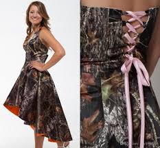 halter hi lo camo wedding dresses ruched pink lace up back forest