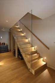 Glass Banisters For Stairs Stairway Lighting Staircase Contemporary With Balustrade Basement