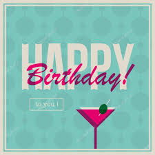 birthday cocktail birthday card for woman with cocktail drink u2014 stock vector