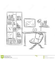 workplace sketch in office or home stock vector image 68915449