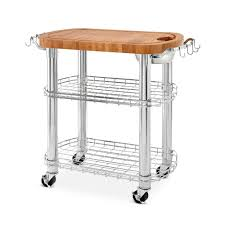 oval kitchen island seville classics chrome bamboo rolling butcher block top