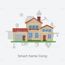 vector illustration concept of smart home technology system stock