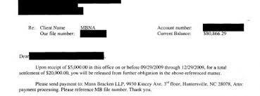 mbna sample debt settlement offer letter leave debt behind