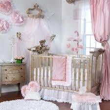 Princess Baby Crib Bedding Sets 3p Pink White Modern Princess Floral Ruffle Baby Nursery