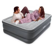 intex queen size essential rest raised fiber tech airbed with