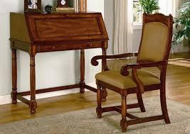Secretary Desk Lustrous Brown Cherry Finish Secretary Desk W Optional Chair