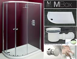 Bathroom Shower Trays by Merlyn Mbox Vivid Corner 900 X 760 Left Hand Offset Quadrant Quad