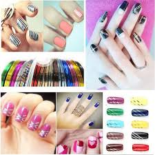 mixed colorful beauty rolls striping decals foil tips tape line