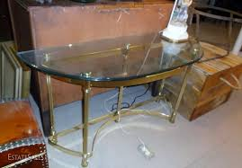 Glass Entry Table Brass And Glass Entry Table Estatesales Org