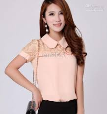 women u0027s blouse puff sleeve peter pan collar lace chiffon