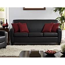 Black Faux Leather Sofa Mainstays Faux Leather Sofa Black Walmart