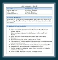 resume sle of accounting assistant job summary report sle church employee job descriptions