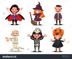 halloween background with silhouettes of children trick or treating in halloween costume set children characters halloween costumes dracula stock vector