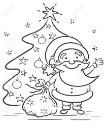 cartoon santa with presents and christmas tree black and white