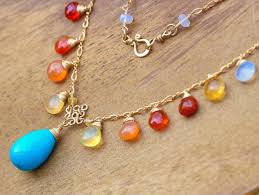 turquoise gold necklace images Mexican fire opal and turquoise gold filled drop necklace valltasy jpg