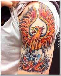 flaming with skull on half sleeve