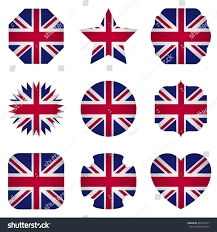uk flag different shapes on white stock vector 482529127