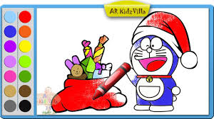 color doraemon santa with christmas gifts coloring page and learn