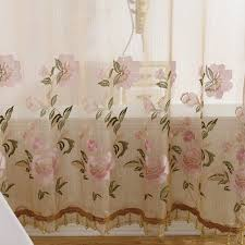 Embroidered Sheer Curtains Yarn Embroidery Pink Flower Sheer Curtains Sheer