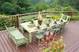 farm table deck rustic with patio furniture wood railing