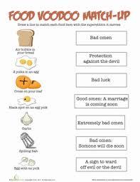 food superstitions worksheet education com